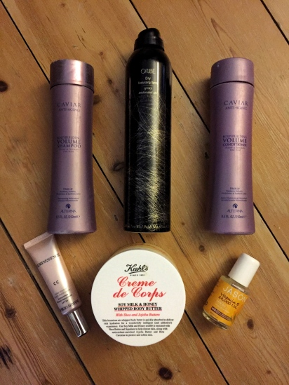 Getting Ready Report Jason Vitamin E Oil Armani Luminessence Cream, Kiehl's Creme de Corps, Alterna Caviar Anti Aging Shampoo Conditioner, Oribe Dry Texturizing Spray Sophie Southmayd